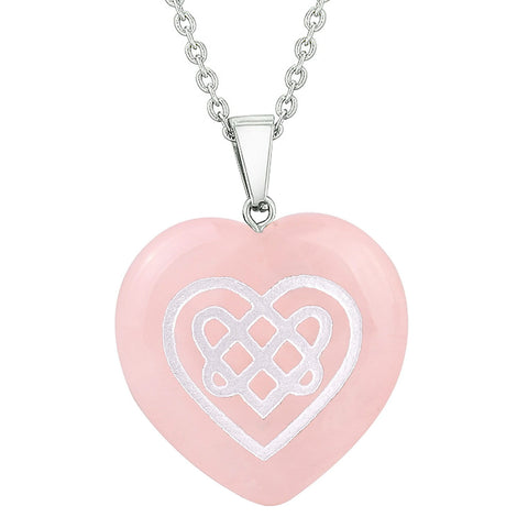 Amulet Celtic Shiled Knot Heart Powers Protection Energy Rose Quartz Puffy Heart Pendant Necklace