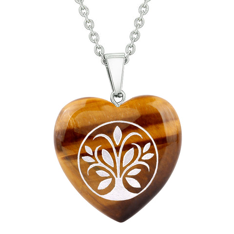 Amulet Tree of Life Magical Powers Protection Energy Tiger Eye Puffy Heart Pendant 22 Inch Necklace