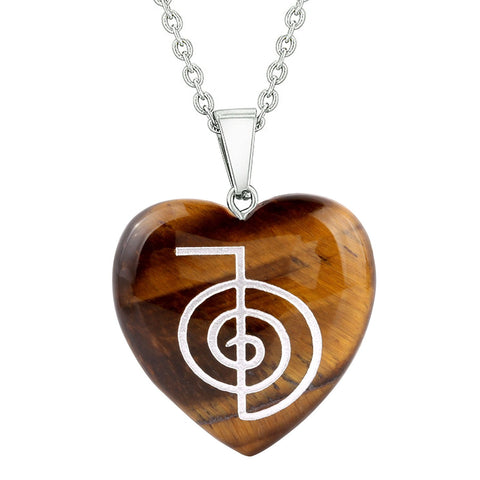Amulet Choku Rei Reiki Magical Powers Protection Energy Tiger Eye Puffy Heart Pendant Necklace