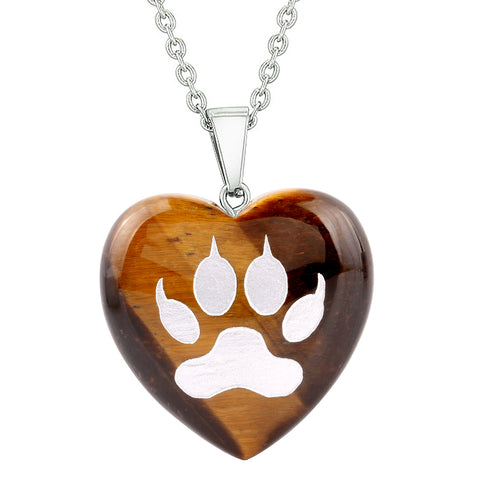 Amulet Wolf Paw Courage Magical Powers Protection Energy Tiger Eye Puffy Heart Pendant Necklace