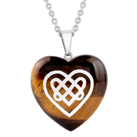 Amulet Celtic Shiled Knot Heart Powers Protection Energy Tiger Eye Puffy Heart Pendant Necklace