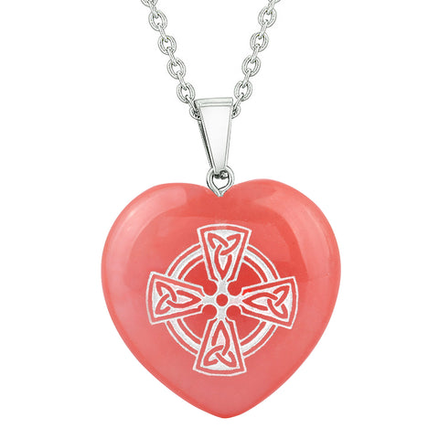 Amulet Viking Celtic Cross Circle Powers Cherry Simulated Quartz Puffy Heart Pendant Necklace