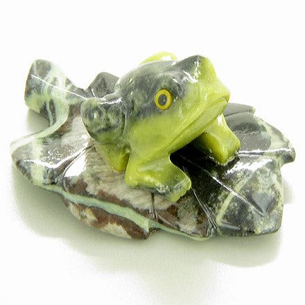 Lucky Frog on Leaf Brazilian Onyx Gemstone Totem Carving