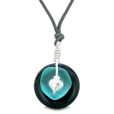 Sea Glass Aqua Blue Heart Lucky Charm and Black Agate Coin Shaped Donut Magic Amulet Adjustable Necklace