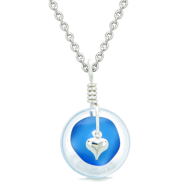 Sea Glass Ocean Blue Heart Lucky Charm and Crystal Quartz Coin Shaped Donut Magic Amulet 18 Inch Necklace