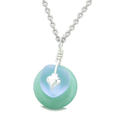 Sea Glass Pastel Purple Heart Lucky Charm and Green Quartz Coin Shaped Donut Magic Amulet 18 Inch Necklace