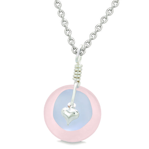Sea Glass Pastel Purple Heart Lucky Charm and Rose Quartz Coin Shaped Donut Magic Amulet 18 Inch Necklace