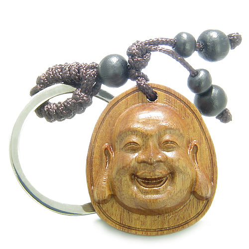 Amulet Sandal Wood Magic Laughing Happy Buddha Lucky Feng Shui Lotus Good Luck Power Keychain Charm