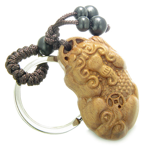 Amulet Sandal Wood Magic Dragon and Lucky Feng Shui Coin Good Luck Protection Keychain Blessing