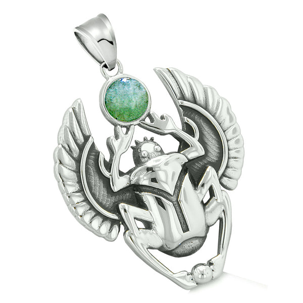 Amulet Egyptian Scarab Rebirth Spiritual Life Magic Powers Green Quartz Pendant 18 Inch Necklace