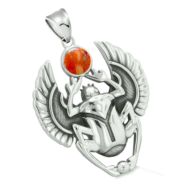 Amulet Egyptian Scarab Rebirth Spiritual Life Magic Powers Red Jasper Pendant 18 Inch Necklace