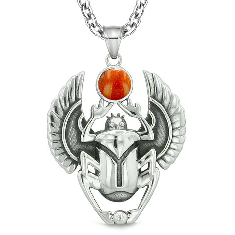 Amulet Egyptian Scarab Rebirth Spiritual Life Magic Powers Red Jasper Pendant 22 Inch Necklace