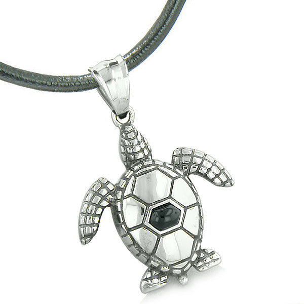 Amulet Sea Turtle Cute Man Made Black Onyx Crystal Lucky Charm Pendant on Leather Cord Necklace
