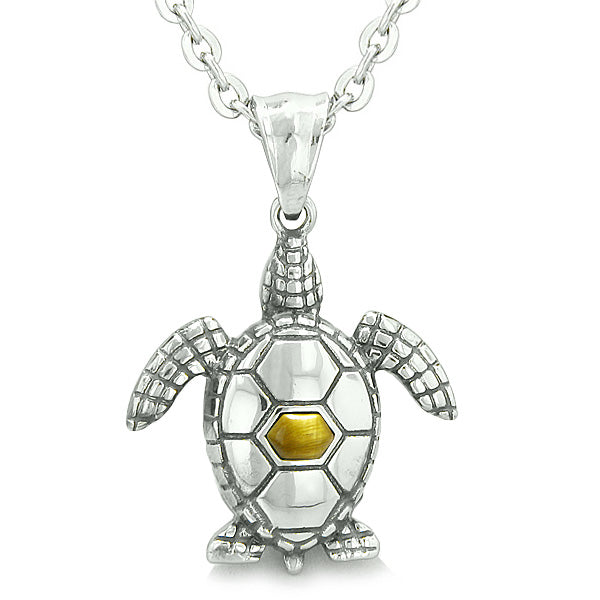 "Amulet Sea Turtle Cute Tiger Eye Crystal Lucky Charm Pendant on 22"" Necklace"