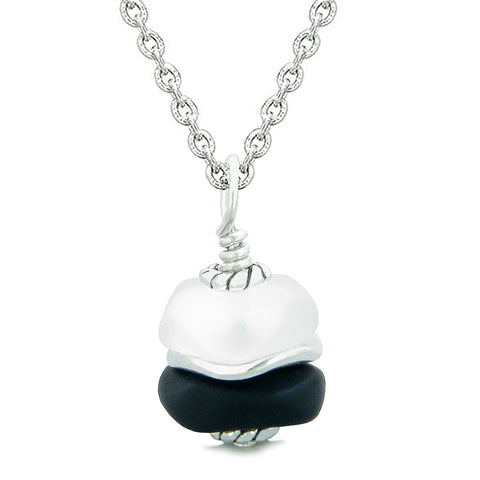 Sea Glass Icy Frosted Waves Lucky Elephant Black White Positive Energy Amulet 18 Inch Necklace