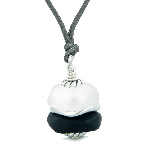 Sea Glass Icy Frosted Waves Lucky Elephant Black White Positive Energy Amulet Adjustable Necklace