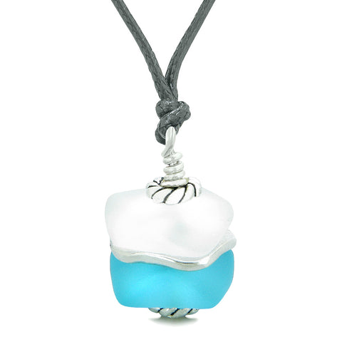 Sea Glass Icy Frosted Waves Lucky Elephant Sky Blue White Positive Energy Amulet Adjustable Necklace