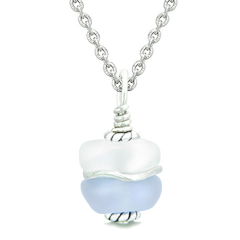 Sea Glass Icy Frosted Waves Lucky Elephant Purple White Positive Energy Amulet 22 Inch Necklace