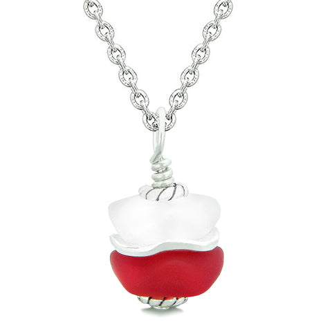 Sea Glass Icy Frosted Waves Lucky Elephant Royal Red White Positive Energy Amulet 18 Inch Necklace