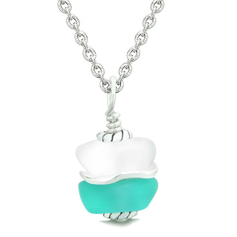 Sea Glass Icy Frosted Waves Lucky Yin Yang Aqua Blue White Positive Energy Amulet 18 Inch Necklace
