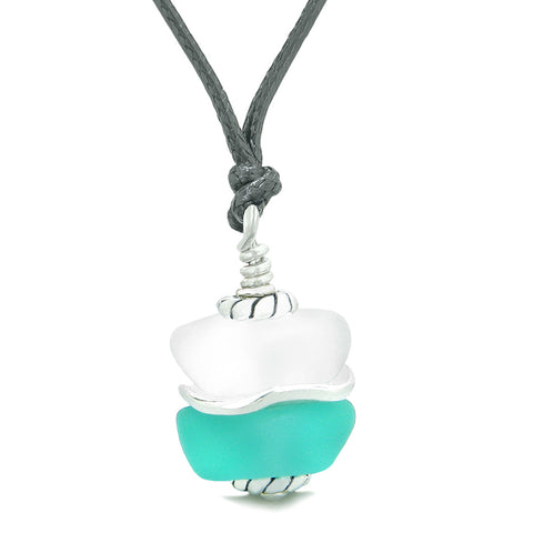Sea Glass Icy Frosted Waves Lucky Buddha Aqua Blue White Positive Energy Amulet Adjustable Necklace
