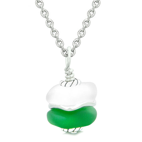 Sea Glass Icy Frosted Waves Lucky Yin Yang Forest Green White Positive Energy Amulet 18 Inch Necklace