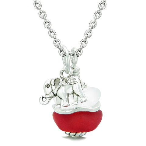 Sea Glass Icy Frosted Waves Lucky Elephant Royal Red White Positive Energy Amulet 22 Inch Necklace