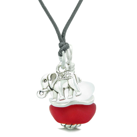 Sea Glass Icy Frosted Waves Lucky Elephant Royal Red White Positive Energy Amulet Adjustable Necklace