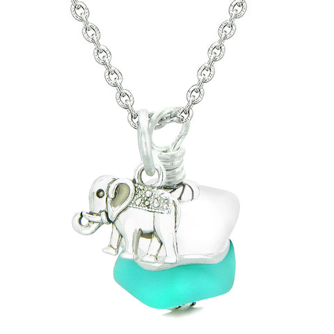 Sea Glass Icy Frosted Waves Lucky Elephant Aqua Blue White Positive Energy Amulet 18 Inch Necklace