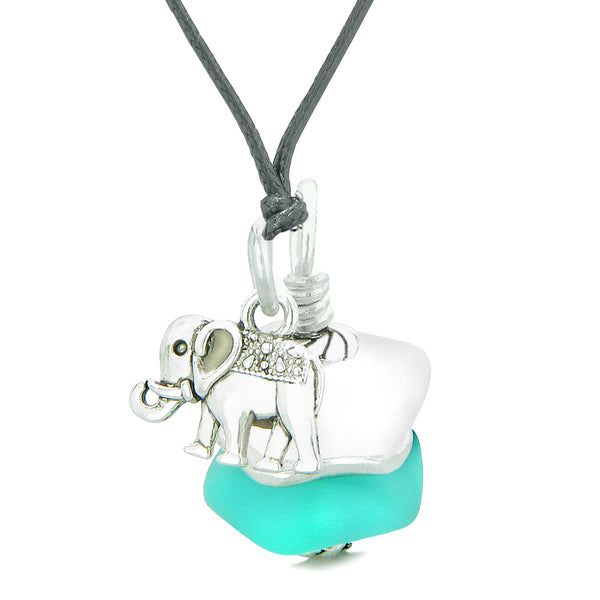Sea Glass ICY Frosted Waves Double Lucky Ocean Blue White Positive Energy Amulet Pendant 18 Inch Necklace