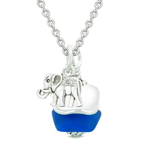 Sea Glass Icy Frosted Waves Lucky Elephant Ocean Blue White Positive Energy Amulet 22 Inch Necklace
