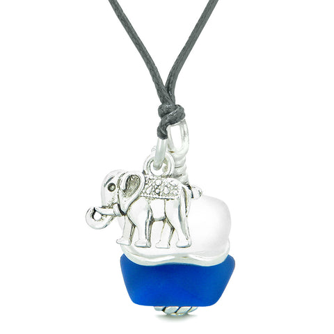 Sea Glass Icy Frosted Waves Lucky Elephant Ocean Blue White Positive Energy Amulet Adjustable Necklace