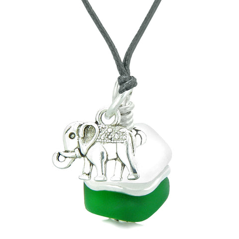 Sea Glass Icy Frosted Waves Lucky Elephant Forest Green White Positive Energy Amulet Adjustable Necklace