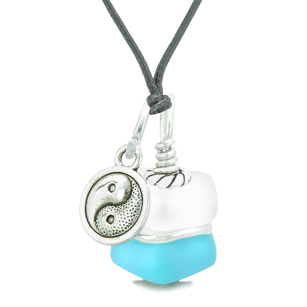 Sea Glass Icy Frosted Waves Lucky Yin Yang Sky Blue White Positive Energy Amulet Adjustable Necklace