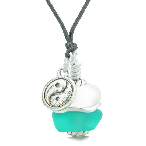 Sea Glass Icy Frosted Waves Lucky Yin Yang Aqua Blue White Positive Energy Amulet Adjustable Necklace