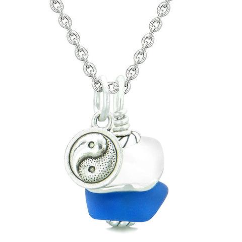 Sea Glass Icy Frosted Waves Lucky Yin Yang Ocean Blue White Positive Energy Amulet 22 Inch Necklace
