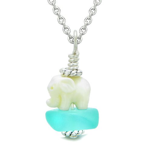 Sea Glass Aqua Blue Frosted Cloud White Elephant Lucky Charm Magic Amulet Pendant 18 Inch Necklace