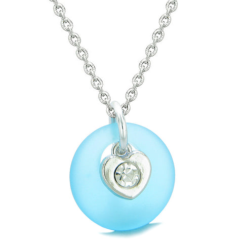 Sea Glass Lucky Donut Crystal Heart Charm Adorable Sky Blue Positive Energy Amulet 18 Inch Necklace