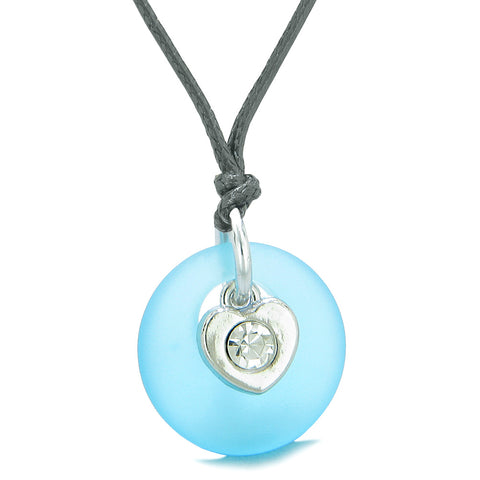 Sea Glass Lucky Donut Crystal Heart Charm Adorable Sky Blue Positive Energy Amulet Adjustable Necklace