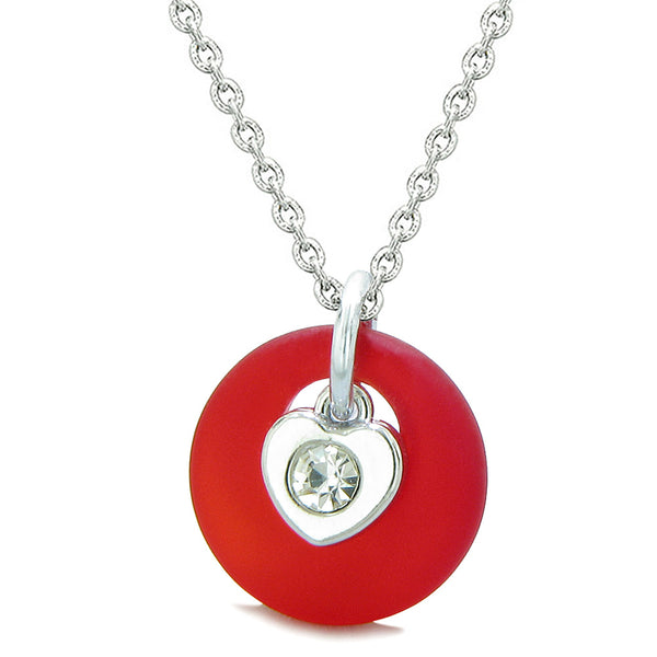 Sea Glass Lucky Donut Crystal Heart Charm Adorable Royal Red Positive Energy Amulet 18 Inch Necklace