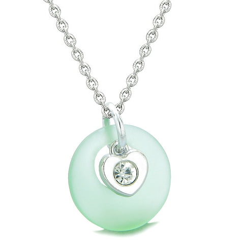 Sea Glass Lucky Donut Crystal Heart Charm Adorable Mint Green Positive Energy Amulet 18 Inch Necklace