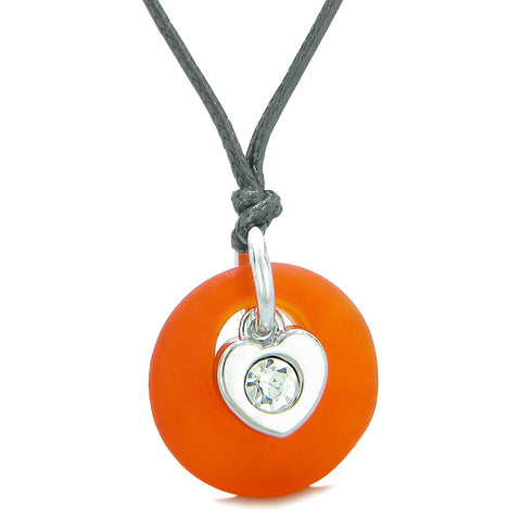 Sea Glass Lucky Donut Crystal Heart Charm Adorable Royal Orange Positive Energy Amulet Adjustable Necklace