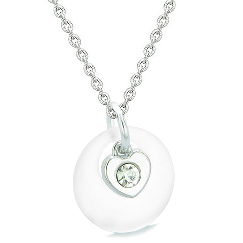 Sea Glass Lucky Donut Crystal Heart Charm Adorable Mist White Positive Energy Amulet 18 Inch Necklace
