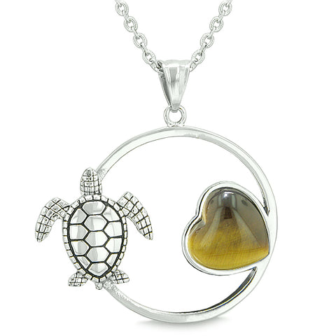 Amulet Cute Sea Turtle Magic Circle Heart Medallion Positive Powers Tiger Eye Pendant Necklace