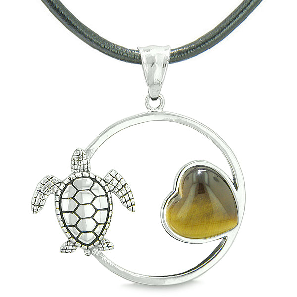 Amulet Cute Sea Turtle Magic Circle Heart Medallion Positive Powers Tiger Eye Leather Necklace