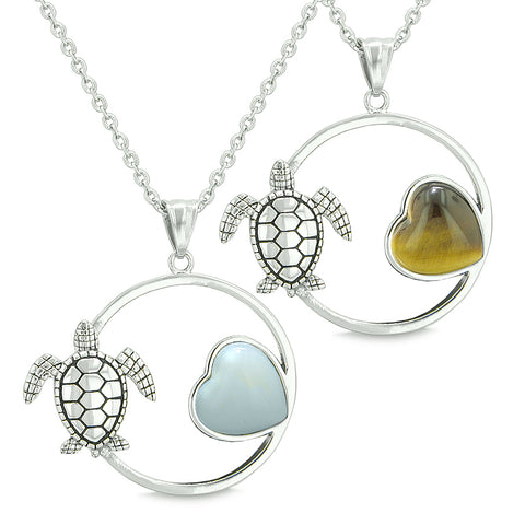 Amulets Cute Sea Turtles Love Couples or Best Friends Set Magic Heart Opalite Tiger Eye Necklaces