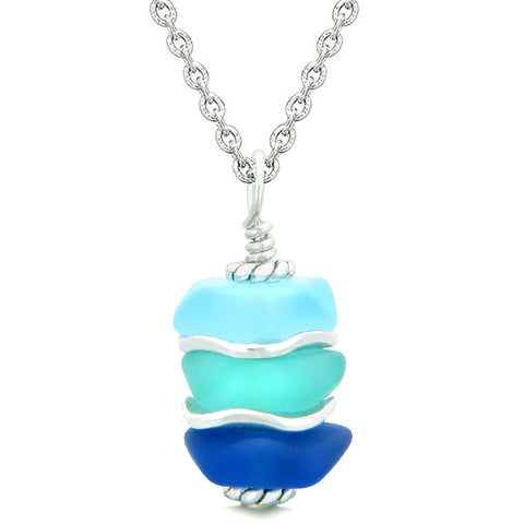 Sea Glass Icy Frosted Waves Aqua Sky and Ocean Blue Positive Powers Amulet Pendant 22 Inch Necklace