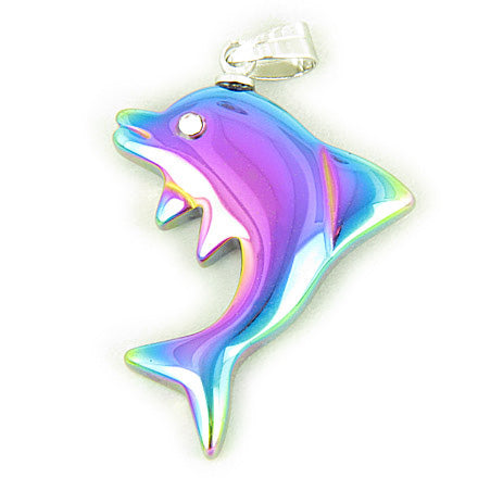 Lucky And Happy Dolphin Pendant In Rainbow Hematite Gemstone