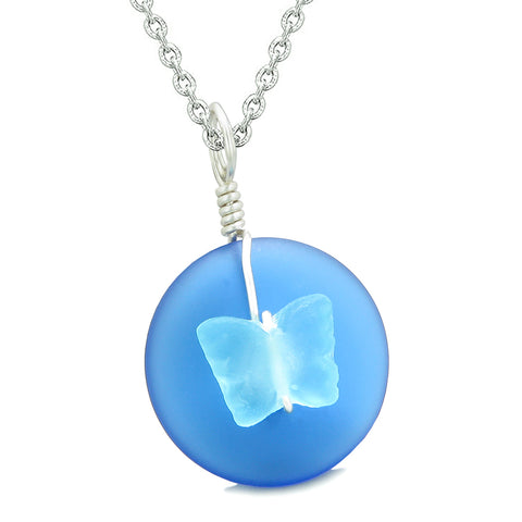 Lucky Butterfly Sea Glass Donut Positive Energy Amulet Ocean and Sky Blue Pendant 22 Inch Necklace