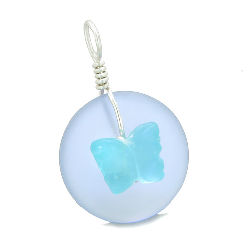 Lucky Butterfly Sea Glass Donut Positive Energy Amulet Purple and Sky Blue Pendant 22 Inch Necklace